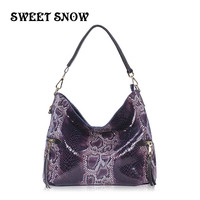 SWEET SNOW New Soft Genuine Leather Fashion Handbag Vintage wild Shoulderbag For Women Large Capacity Ladies Snake Bag