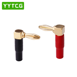 Image 3 - YYTCG 8Pcs Right Angle 90 Degree 4mm Banana Plug Screw L Type for Binding Post Amplifiers Video Speaker Adapter Connector