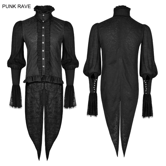 PUNK RAVE Men Gothic Dovetail Palace Shirt Steampunk Vintage Evening Party shirt Lace Sleeve Black Blouses with Stand Collar
