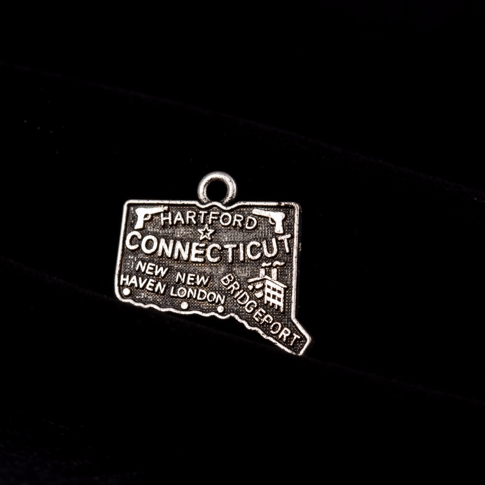 my shape 60Pcs New Design Connecticut State Map Charms Alloy Antique Silver Plated Pendant DIY Jewelry 20*18mm