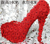 Sweet Red Lace Flower Rhinestone Ultra High Heels Red Wedding Shoes Bridal Shoes Wedding Shoes