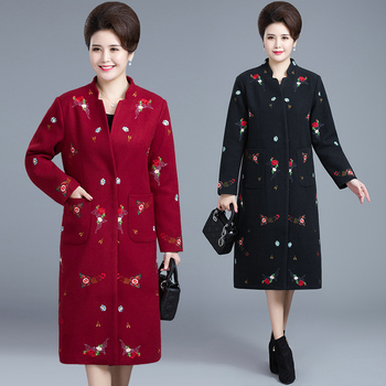 Winter female Embroidery wool coat women's national style  plus size 5XL Coat long woolen coat long Parkas thicken Retro outwear