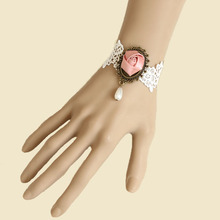 Bridal Hand Lolita Pink Flower Rose Lace Bead Drop Bronze Metal Bracelet Party Gothic Jewelry Fashion Accessory