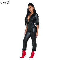 VAZN Autumn New Sexy Fashion Style 2018 Women Leather Solid Skinny Jumpsuits Ladies Deep V Neck Full Sleeve Jumpsuits ORY5072