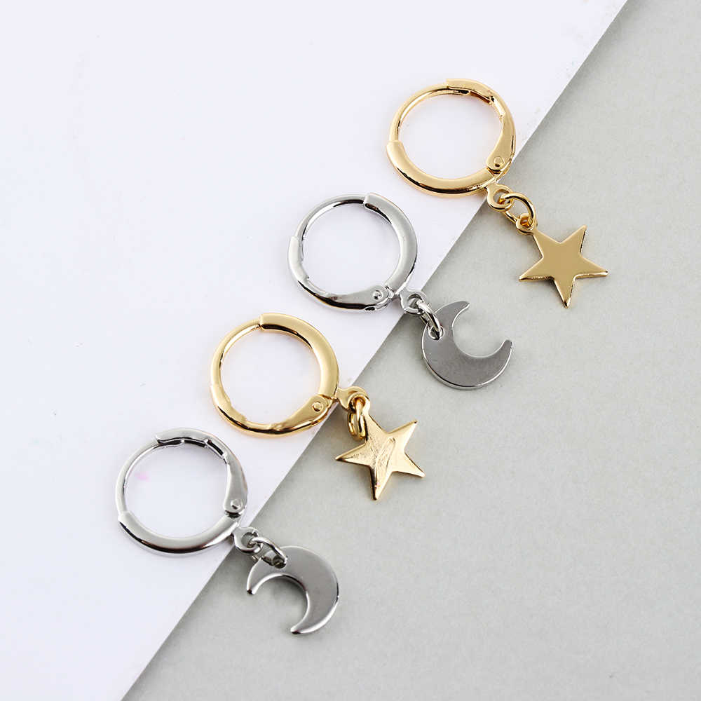 New Trendy Gold Color Small Star Hoop Earrings For Women 2019 Ear Piercing Huggie Earrings Simple Tiny Moon Crescen Jewelry