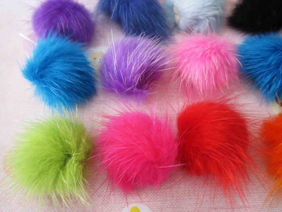 Set of 80pcs bulk buy mink hair fur pom pom ball craft for Where to buy pom poms for crafts