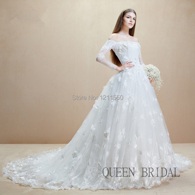 bridal gown with off the shoulder sleeves