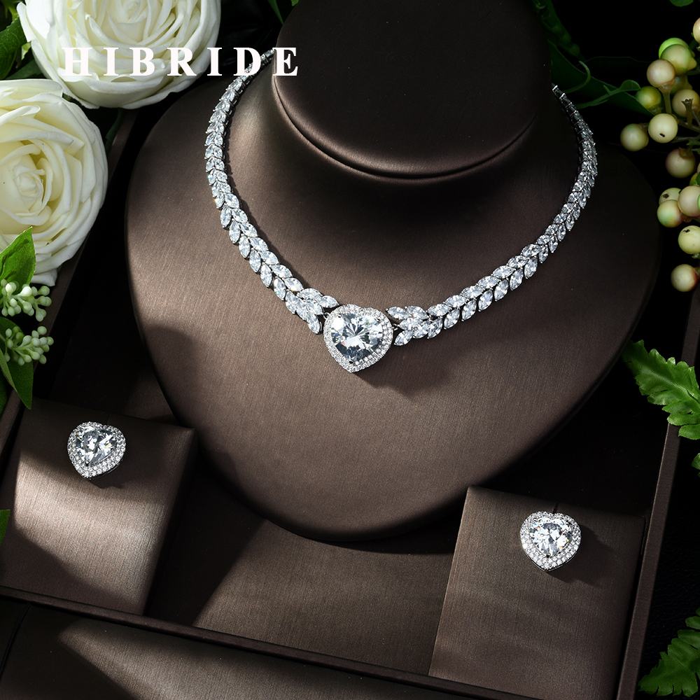 HIBRIDE New Noble Jewelry White Color Clear CZ Heart Shape Pendant Necklace for Women Bridal Wedding Accessories Gift N-1007HIBRIDE New Noble Jewelry White Color Clear CZ Heart Shape Pendant Necklace for Women Bridal Wedding Accessories Gift N-1007