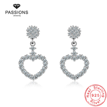 Hot Sale Heart Drop Earrings For Women Charm Cubic Zirconia 925 Sterling Silver Plate Ear Stud For Women Earring Jewelry Gift