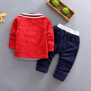 Image 5 - Ragazzi del bambino abbigliamento 3 pezzi/set di usura dei bambini versione Coreana caduta abbigliamento casa di stampa giacca + t shirt + jeans del bambino vestito