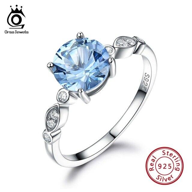 ORSA JÓIAS 100% 925 Prata Esterlina Anéis Para As Mulheres Topázio Azul Natural Forma Redonda Feminino Anel Feminino Jóias Finas VSR01