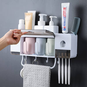 Toothbrush-Holder Dispenser Bathroom-Accessories-Sets Wall-Mounted Automatic with Cups