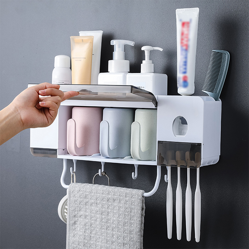Wall Mounted Toothbrush Holder With Cups Automatic Toothpaste Squeezer Dispenser Bathroom Storage Rack Bathroom Accessories Sets