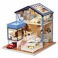 Muebles de Casa de muñecas Diy Cubierta de Polvo 3D Miniaturas de casa de Muñecas De Madera Miniatura Juguetes para Regalo de Navidad Seattle A061