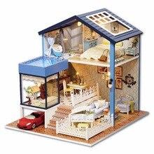 Muñeca casa miniatura DIY casa de muñecas con muebles de casa de madera juguetes para niños Regalo de Cumpleaños A061