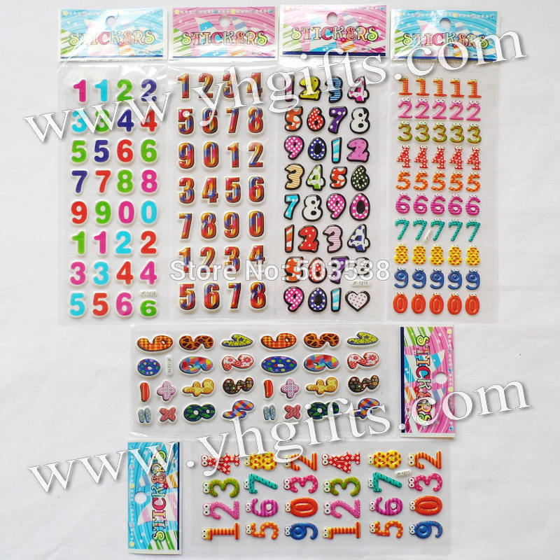 30 sheets(970PCS stickers) / LOT.PVC sponge removable 0-9 numbers stickers,Promotional gifts.Teach your own.Wall stickers.Cheap