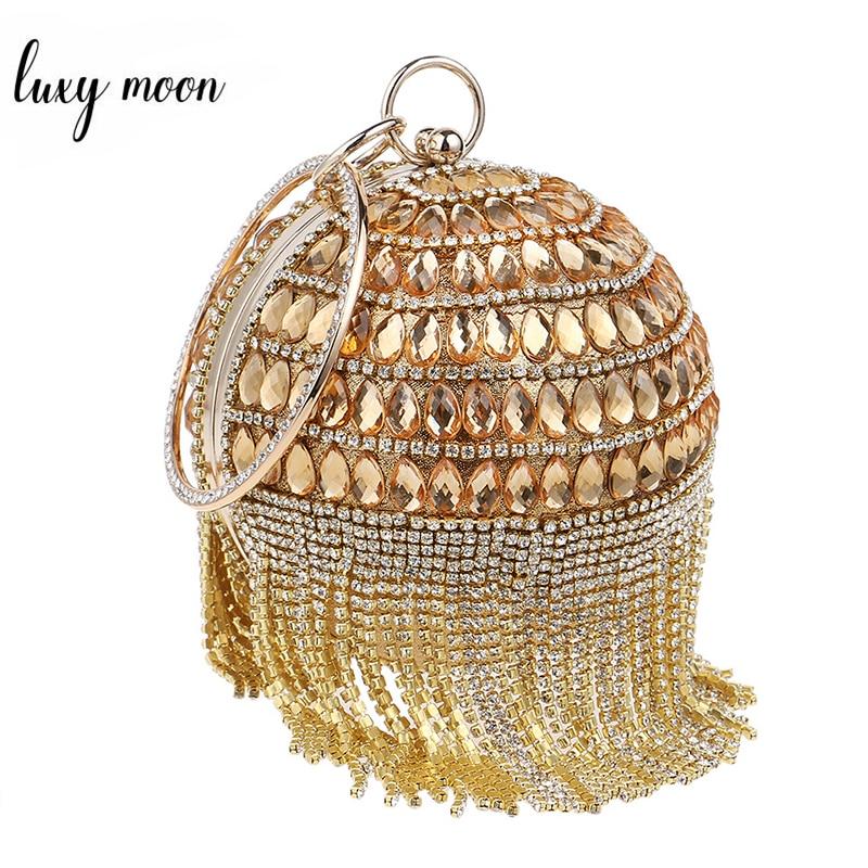 2016 Round Shape Clutch Bags Beaded Pearls Evening Bag Rhinestone Tassel Women Evening Clutch Ball Handbag Night Club Clutches