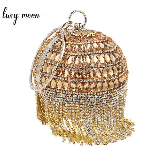 a1f4e5d1ae3e 2016 Round Shape Clutch Bags Beaded Pearls Evening Bag Rhinestone Tassel  Women Evening Clutch Ball Handbag