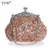 Sequined Evening Bags for Women 2018 Frame Clutch Bag with Tiny beads Luxury Handbags Women Bags Designer Party Shoulder Bag