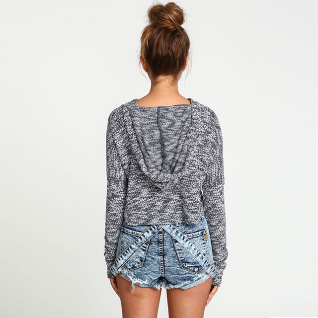 Knitted Crop Hoodie Sweatshirts 2colors XS/XXL