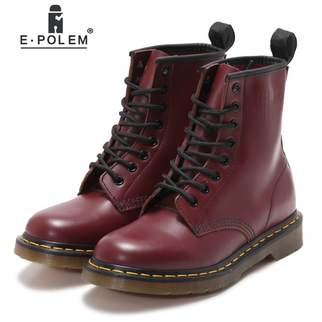 b1e996a2b91 Fashion Female Girls Claret Red-Wine Burgundy Cherry Leather Martin Boots  Ankle Boot Motorcycle Boots for Woman