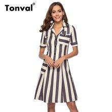 5d41e27c12 Tonval Turn-down Collar rayas camisa vestido de las mujeres elegantes una  línea Oficina vestido 2018 verano Vintage vestidos