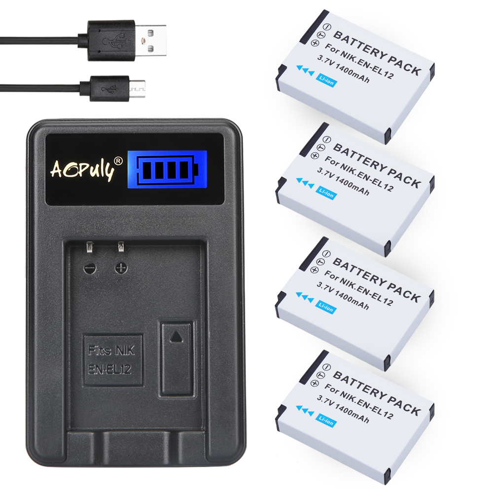 4Pc EN-EL12 EN EL12 ENEL12 Battery + LCD USB Charger for Nikon Coolpix S6000 S6100 S6150 S6200 S6300 AW100s AW110s AW120s Camera image