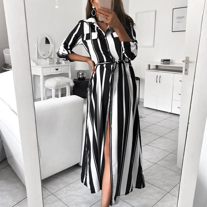 AliExpress best selling explosions color vertical stripes legs in the middle split shirt dress female new spot T6