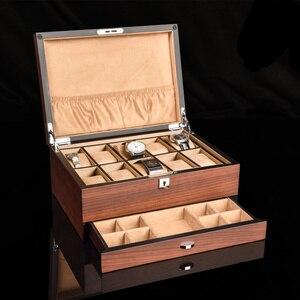 Top drewniane przechowywanie zegarków pudełka z zamkiem solidne mechaniczne organizator zegarków nowe kobiety ekspozytor do biżuterii