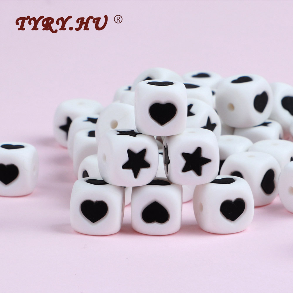 TYRY.HU Heart Silicone Beads 12mm  Letter Square Teether Beads For DIY Infant Oral Care Toys Baby Teething Necklace Accessories