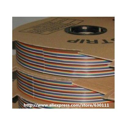 10 m/lot 2.54mm 1.27mm espacement pas 50 voies 50 broches plat couleur arc-en-ciel ruban câble câblage fil toronné conducteur pour PCB bricolage