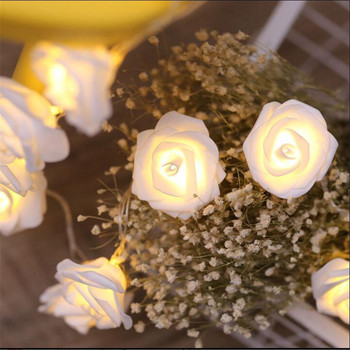 Creative DIY Rose Flower 20LED String Lights, AA Battery  holiday lighting, Event Party garland decoration,Bedroom decoration