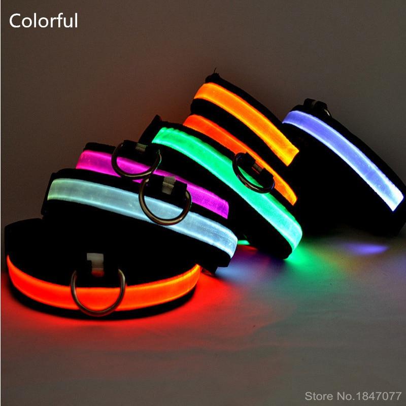 LED nylon kisállat kutya nyakörv nagy kis és közepes méretű kutya kisállat nyakörv szín fényes LED kutya gallér a sötét világítás 160310-3