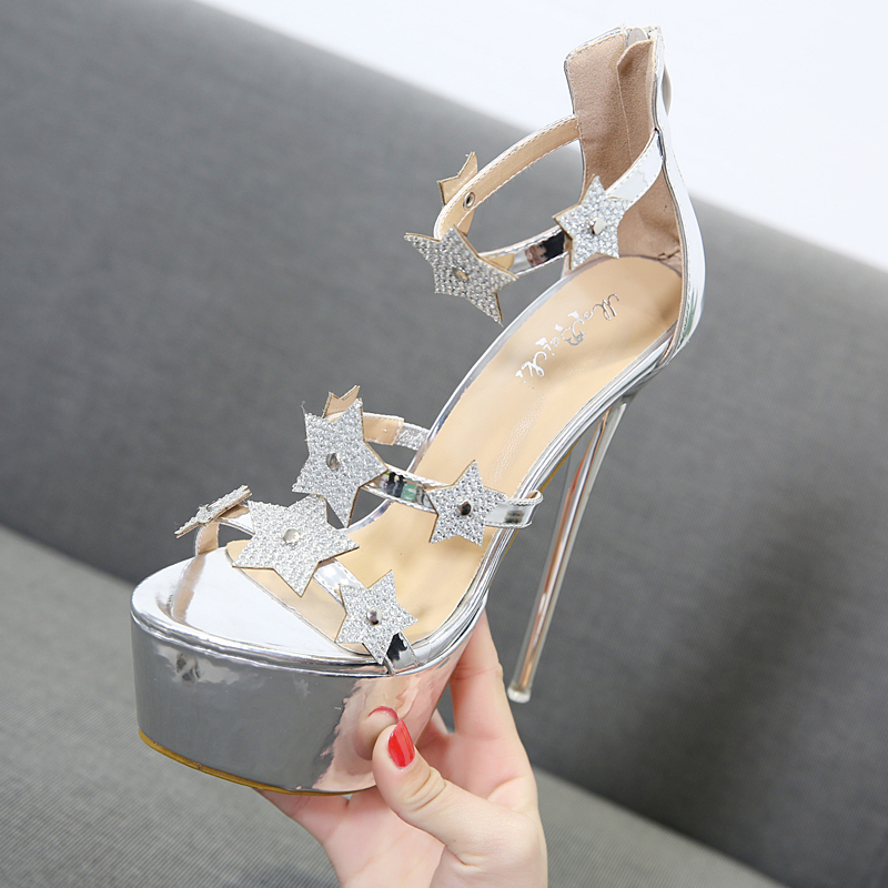 Sexy High Heels Sandals Platform Extreme High Heels 16cm Black Silver Sandal  Heels Fashion Stars Rhinestone Gladiator Sandals-in High Heels from Shoes on  ... fdd9830b5e38