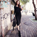 3070# V Neck Elastic Knitted Maternity Dress 2017 Spring Winter Long Sleeve Clothes for Pregnant Women Clothing for Pregnancy