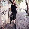 3070 # v neck elastic malha dress 2017 primavera inverno de manga longa roupas de maternidade para mulheres grávidas roupas para a gravidez