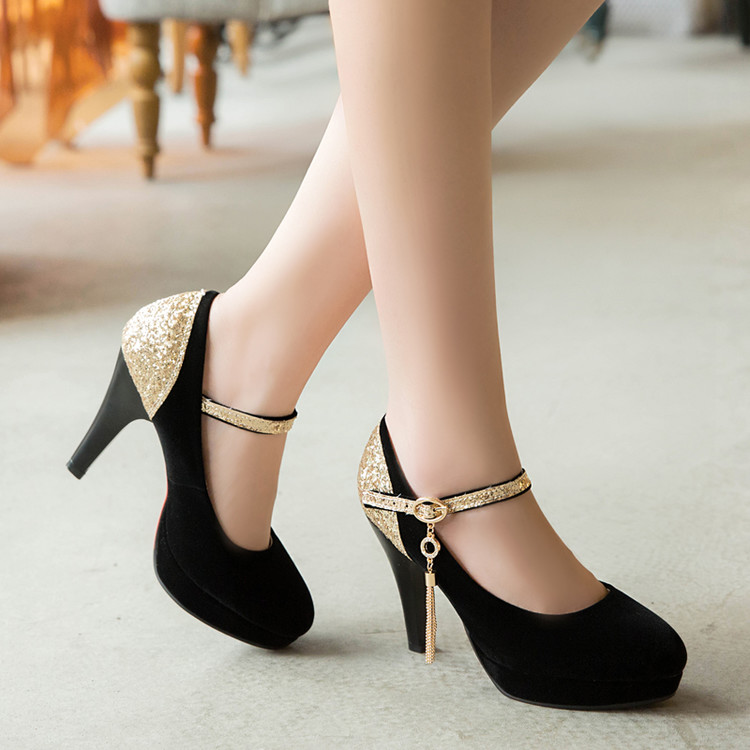 Sequined Mixed colors pumps women thin heel round toe wedding dancing shoes lady buckle strap red