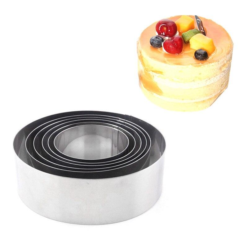 US $8.69 45% OFF|Kochen Silber Mousse Kuchen Ringe Edelstahl 6 teile/satz  Runde Kleine Kuchen Form 6 12 cm DIY Keks Backformen küche Backen ...