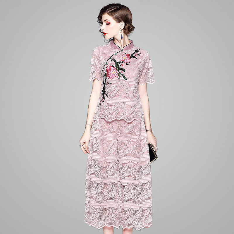 Two Piece Set Top And Pants 2018 Summer New Lace Embroidered Stand Collar Short Sleeved Chinese Style Top + Wide Leg Pants Suit sheep embroidered top and pants pajama set