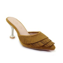 2019 spring and summer women's slippers fashion tassel design pointed toe 7.5CM high heel slippers sandals women's shoes stylish women s slippers with pointed toe and solid colour design
