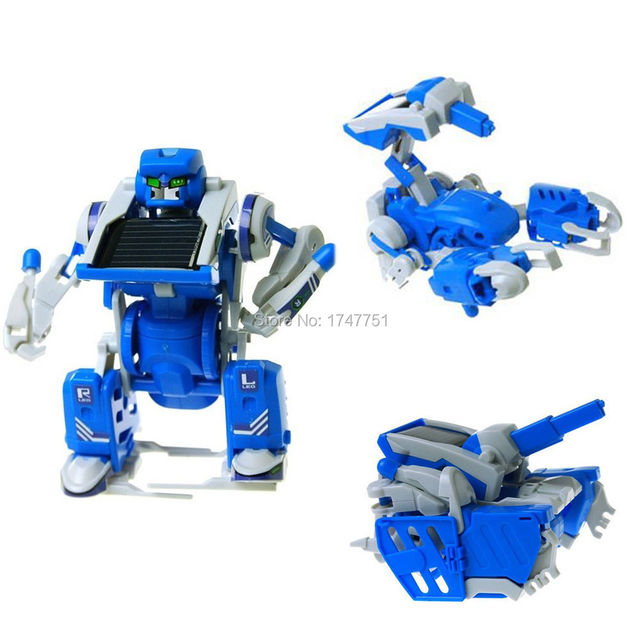 3 In 1 Solar Powered Movable Toy Robot Tank Scorpion Transformer Diy