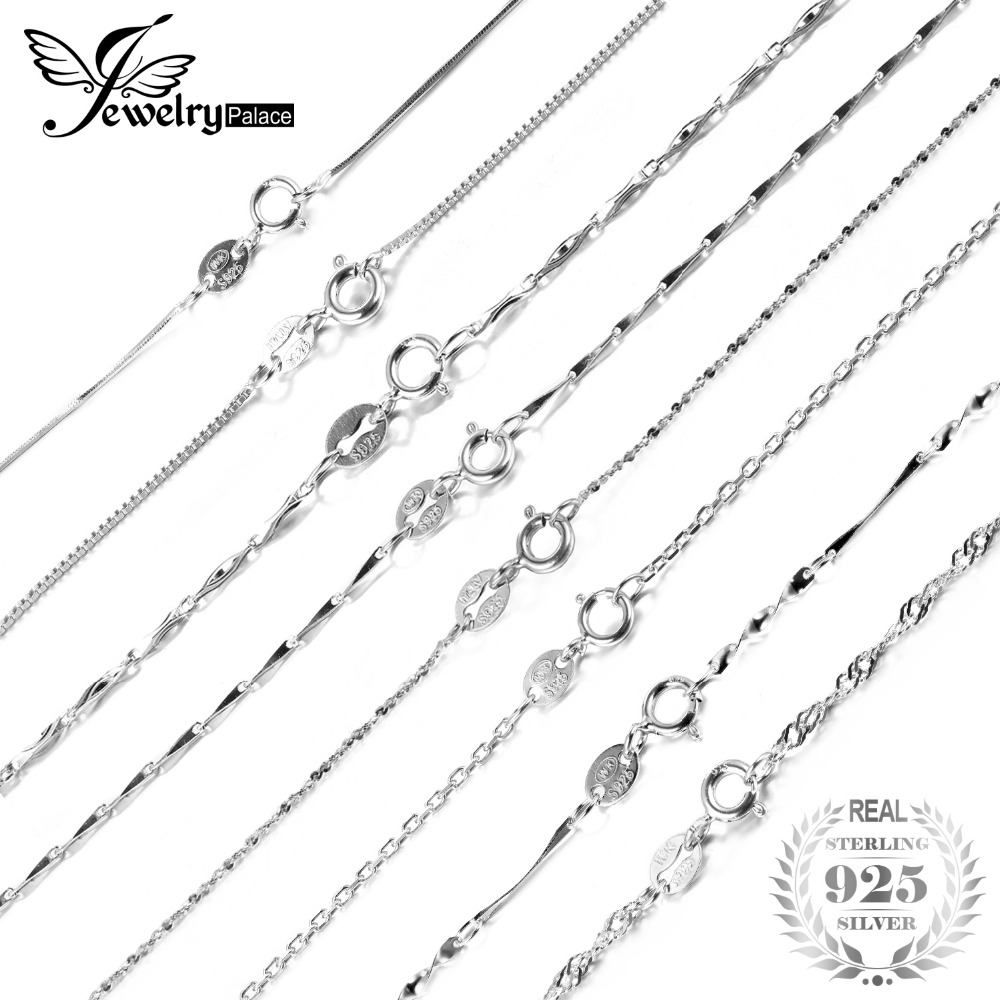JewelryPalace 100% Genuine 925 Sterling Silver Necklaces Classic Basic Silver Chains Lobster Clasp Adjustable Fashion Jewelry jewelrypalace 100