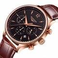 Relógios homens de luxo da marca original guanqin relógio de quartzo de couro dos homens novos de moda à prova d' água masculino relógio de pulso relogio masculino