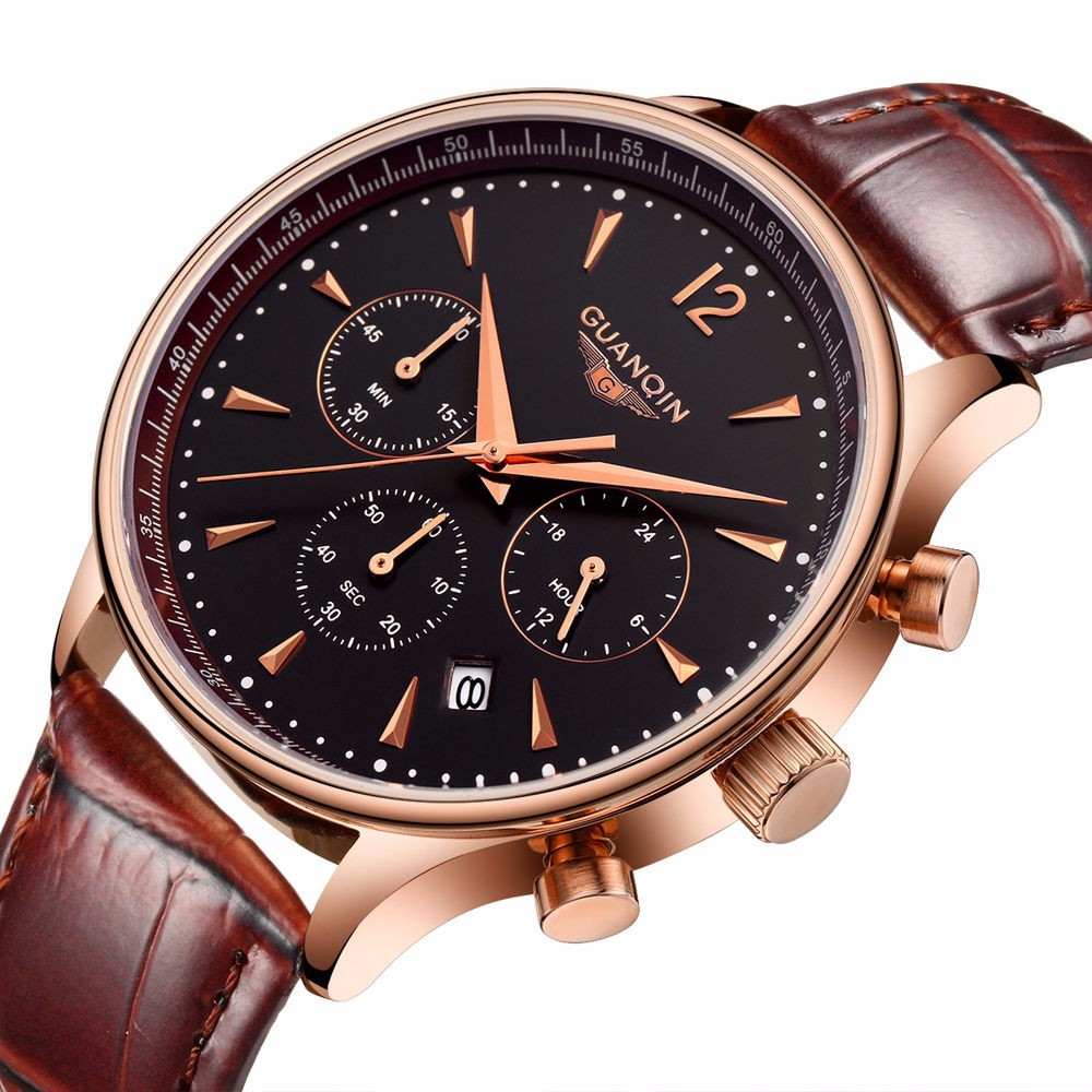 ФОТО Watches Men Luxury Original Brand GUANQIN New Fashion Men's leather Quartz Watch Waterproof Male Wristwatch relogio masculino