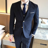 ( Jacket + Vest + Pants ) 2019 New Fashion Boutique Men's Plaid Formal Business Suit 3 Piece Set / Men's High-end Casual Suits 3