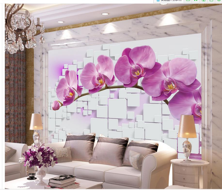 ⊰wallpaper 3d flower Orchid Box Home Decoration custom photo ...