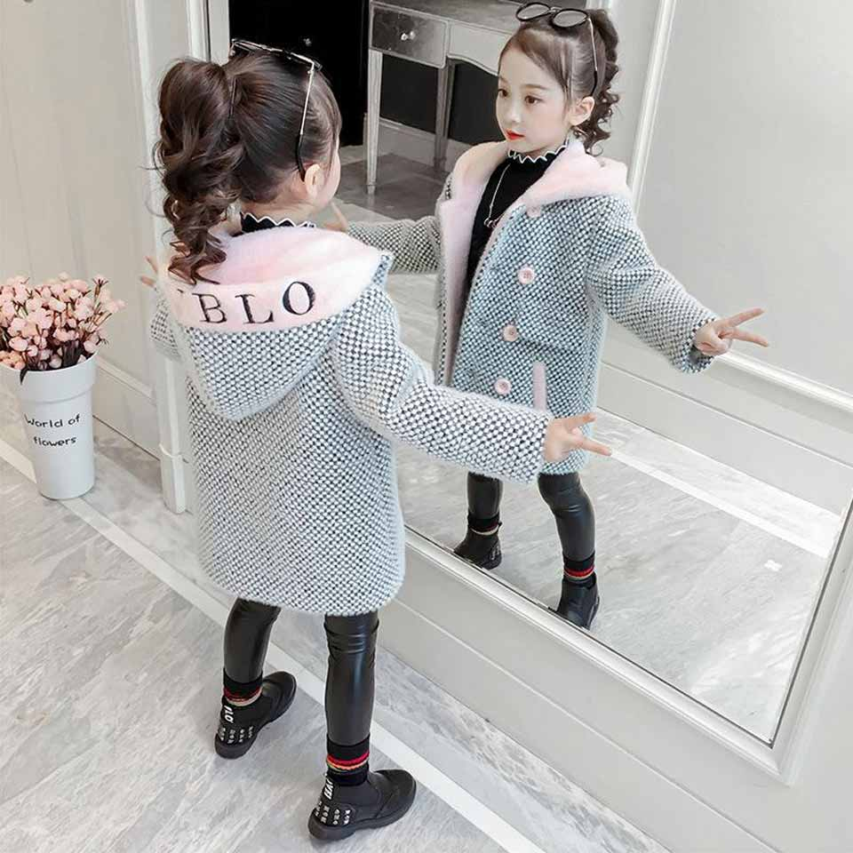 Winter Girls Coat Baby Windbreaker Toddler Jacket Teen Overcoat Girls Jackets Children Outerwear Girls Wool Coat Kids Clothes