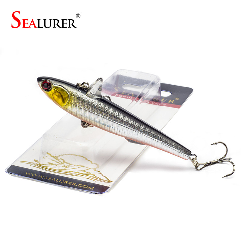 SEALURER 1Pcs Winter Fishing Hard Bait 9cm 14.5g VIB With Lead Inside Ice Sea Fishing Tackle Diving Swivel Jig Wobbler Lure sealurer 5pcs fishing sinking vib lure 11g 7cm vibration vibe rattle hooks baits crankbaits 5 colors free shipping