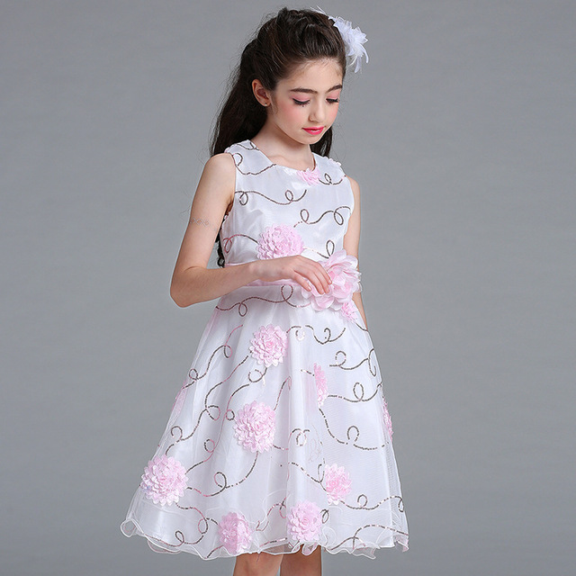 European Style Princess Flower Dress For Wedding Fl Designer Child Birthday Party Mesh Dresses