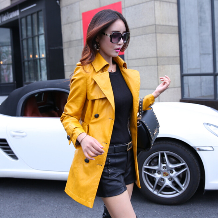2019 elegant women PU leather trench coat plus size 3XL fashion women spring autumn leather long coat red black yellow 6 sizes